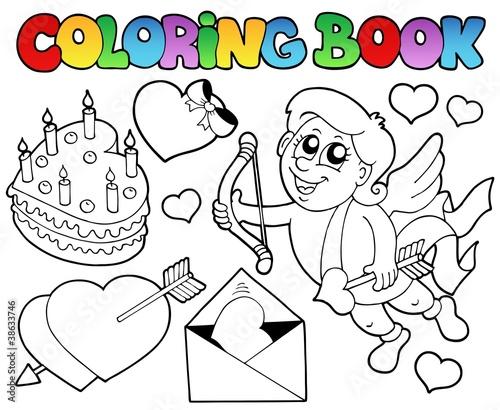 Türaufkleber Zum Malen Coloring book Valentine theme 4