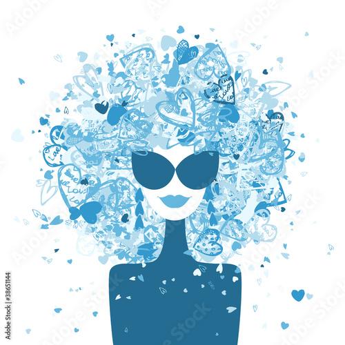 Tuinposter Vrouw gezicht Fashion woman portrait, winter style for your design
