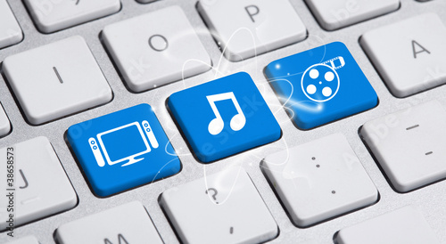 media buttons on keyboard - Buy this stock photo and explore