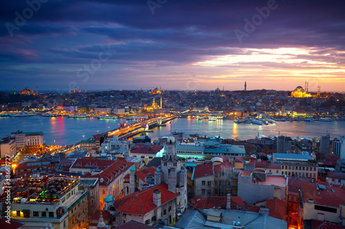 Aluminium Prints Turkey Istanbul Sunset Panorama