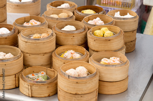 Photo  Steamed Dim Sum in Bamboo Trays