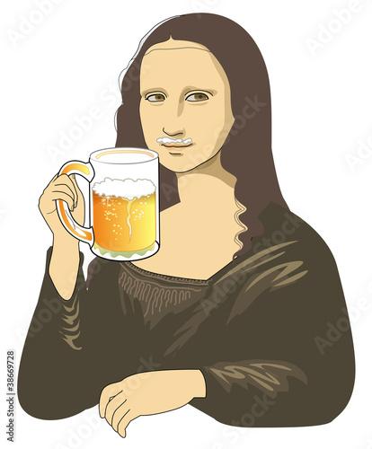 Draft beer of Mona Lisa Wallpaper Mural