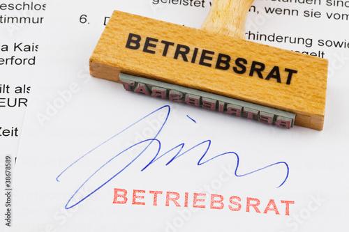 Cuadros en Lienzo Holzstempel auf Dokument: Betriebsrat
