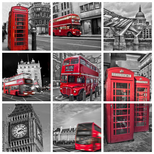 Foto op Canvas Rood, zwart, wit Collage monochrome Londres (UK)