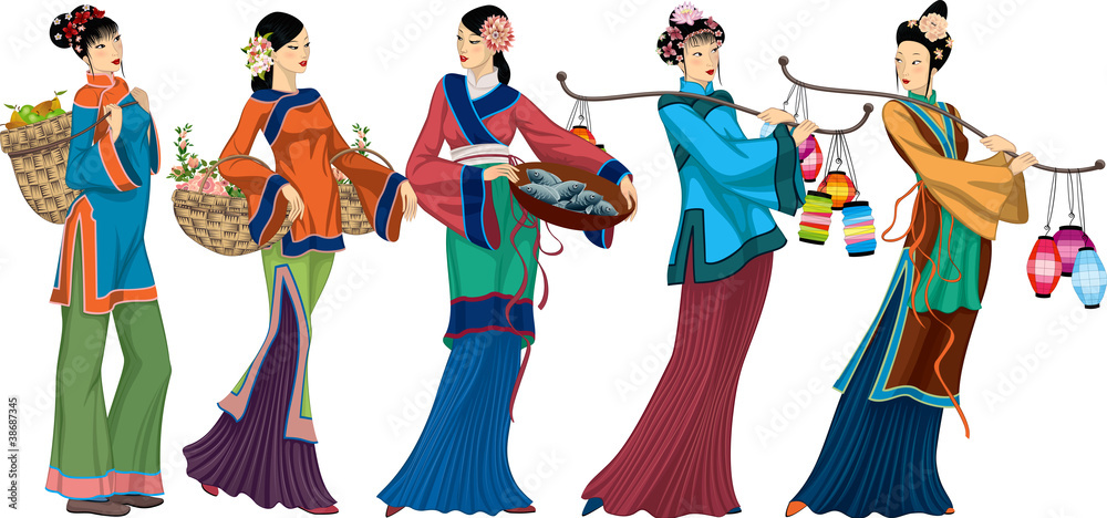 Beautiful Chinese sellers with goods