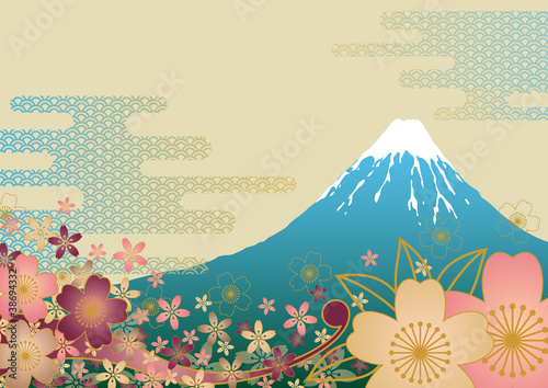 Fotografie, Obraz  富士山と桜の背景