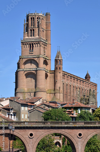 Cathedral and bridge at Albi in France Wallpaper Mural