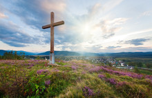 Summer Evening Country View With Wooden Cross