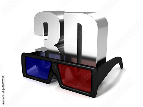 3d Glasses And 3d Metal Symbol Text On White Buy This Stock