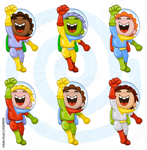 Poster Superheroes Cartoon astronauts
