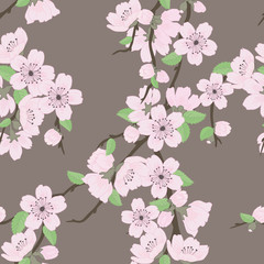 Tapeta Beautiful vector seamless pattern with sakura flowers and leaves