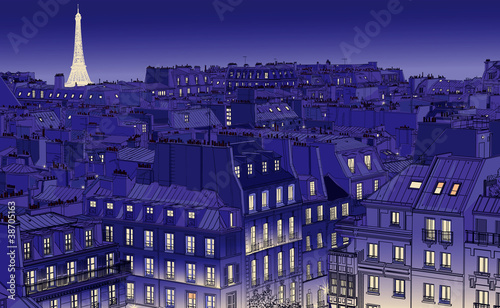 Poster Violet roofs in Paris