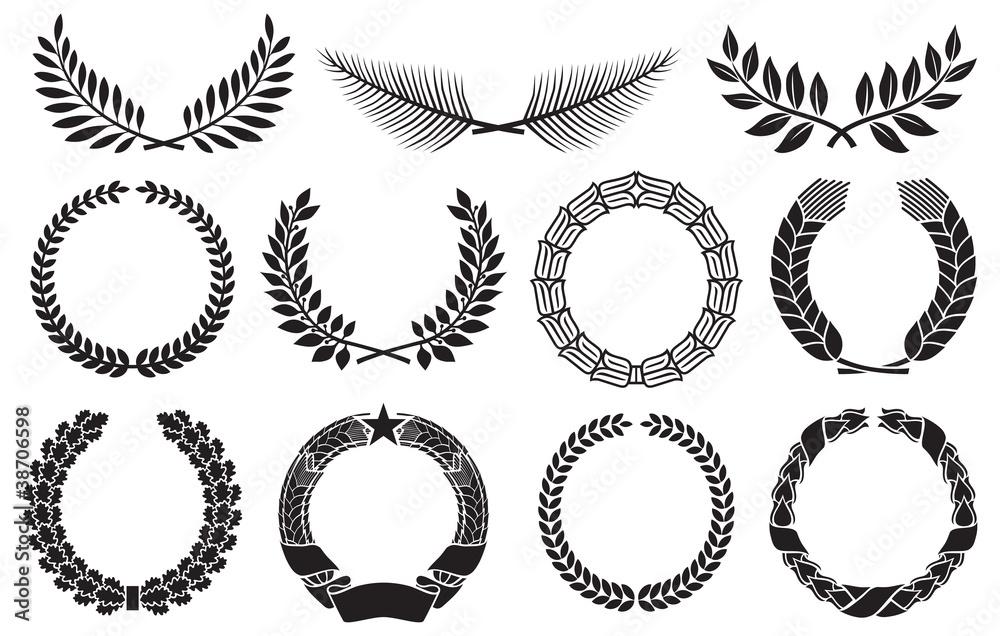 Fototapety, obrazy: Wreath set (laurel, oak, wheat, palm and olive wreath)