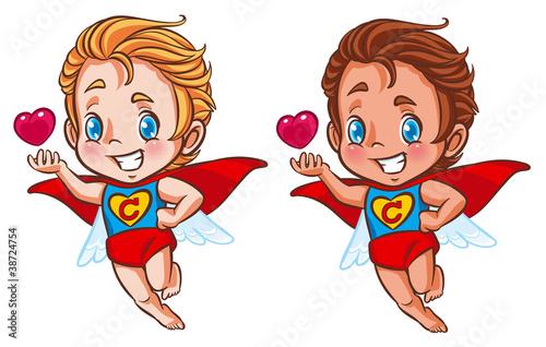 Autocollant pour porte Super heros super cupid
