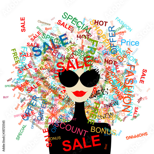 Fotobehang Vrouw gezicht I love sale! Fashion woman with shopping concept for your design