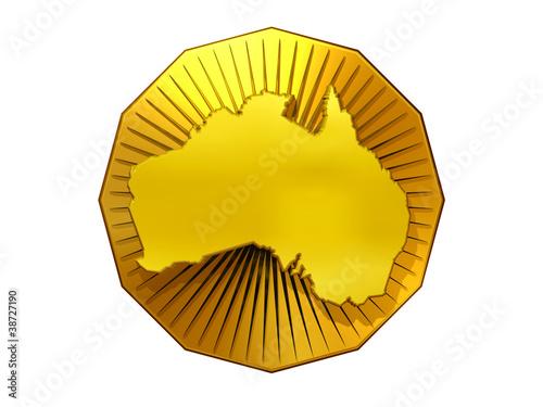 Fotografie, Obraz  Umrisskarte von Australien auf Goldmedaille mit Glorienschein
