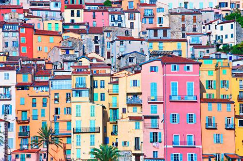 Naklejka dekoracyjna Menton pastel colors houses, Cote d Azur, France