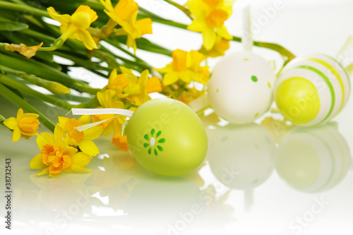 Garden Poster Narcissus Easter eggs and flowers