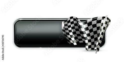 Staande foto Cartoon cars Racing banner flag