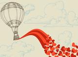 Hot air balloon flying hearts romantic concept - 38749114