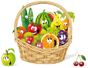Naklejka basket of happy fruit and vegetable