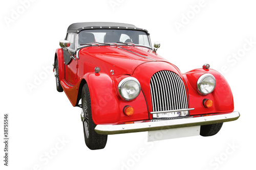 Deurstickers Oude auto s Red classic vintage car isolated on white background
