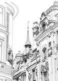 Prague, Czech Republic - architectural drawing of the historic d