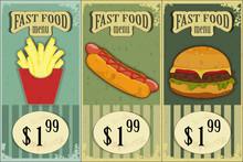 Vintage Fast Food Labels - The Food On  Grunge Background