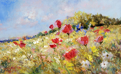 Plakat painted poppies on summer meadow