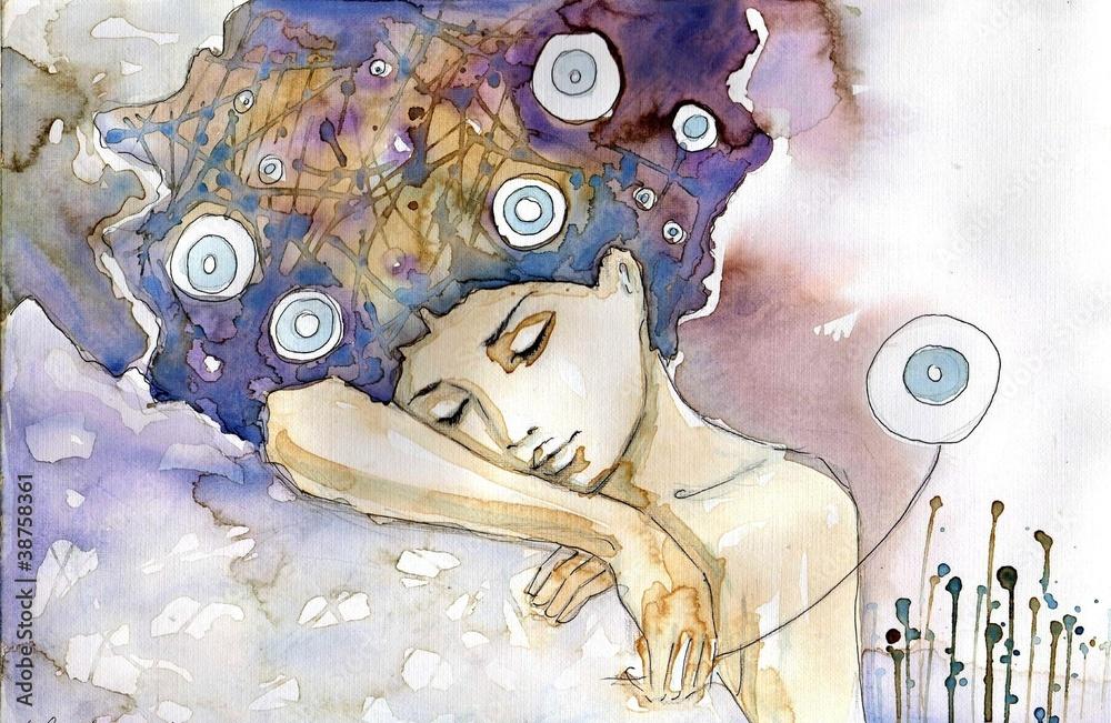 Obraz kobieta która śpi na swoim ramieniu fototapeta, plakat