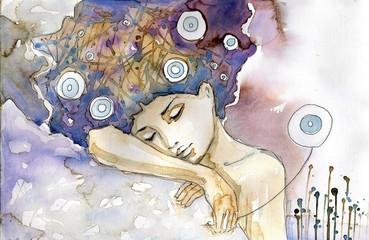 Panel Szklany Dmuchawce kobieta która śpi na swoim ramieniu