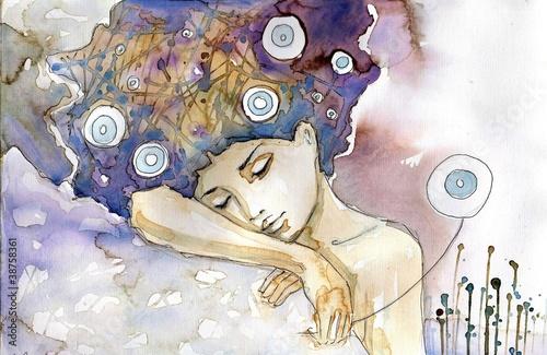 Obraz Kobieta która śpi na swoim ramieniu - fototapety do salonu
