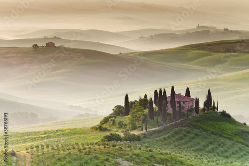 Tela  Early morning on countryside, San Quirico d´Orcia, Tuscany, Ital