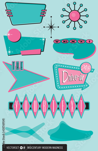Photo Set of 10 retro, 1950s design elements