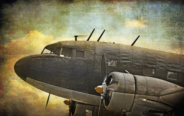 Fototapeta Old military aircraft, grunge background