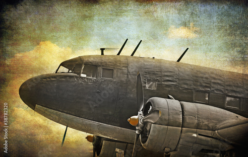 Papiers peints Retro Old military aircraft, grunge background