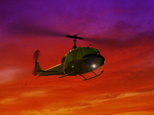Flying Helicopter UH-1and Red ...