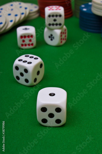 Dices on the table плакат