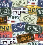 Seamless Background - Retro Auto Licence Plates