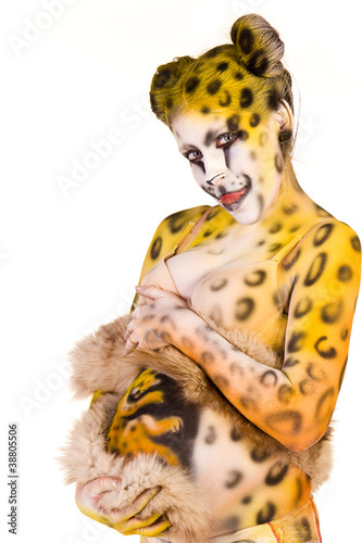 Cuadros en Lienzo Pregnant woman with body-art as leopard