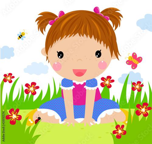 Poster Vogels, bijen A cute little girl