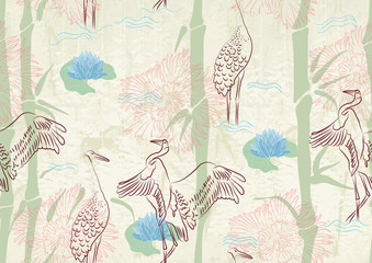 NaklejkaSeamless background with bamboo, stork and lily