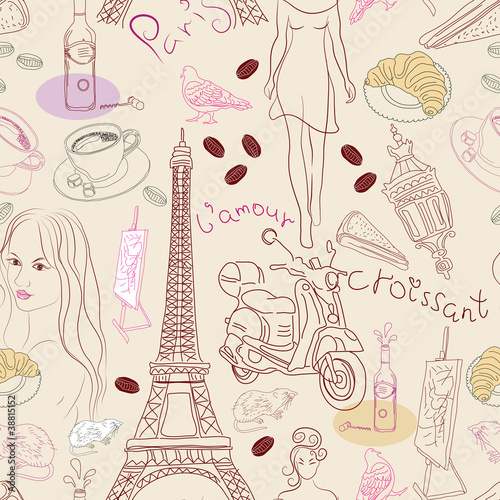 Poster Doodle Seamless background with different Paris elements