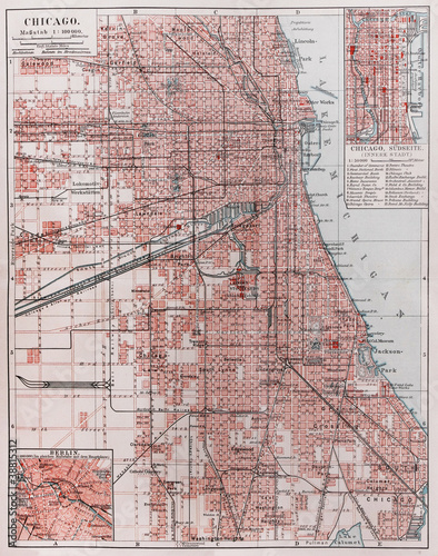 Fotografía Vintage map of Chicago at the beginning of 20th century