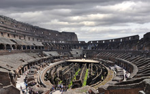 Arena And Underground Levels At The Colosseum In Rome