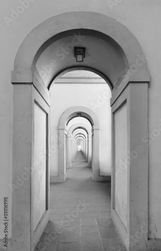 Endless arched doorways repeating to infinity