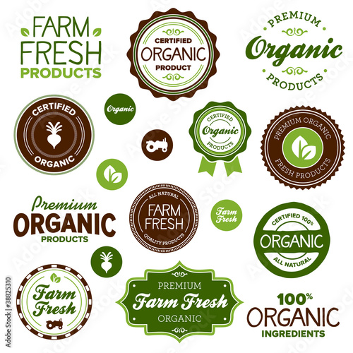 Fotografiet  Organic food labels