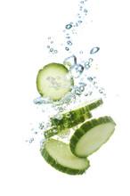 Fresh Sliced Cucumber In Water...