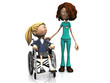 Cartoon nurse and girl in wheelchair.
