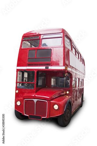 Poster Londres bus rouge Bus rouge londonien, isolé fond blanc